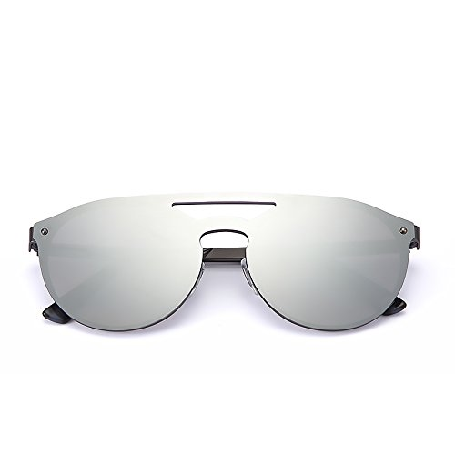 2020Ventiventi Mirrored Sunglasses for Men/women Round Cat Eye Double Bridge Metal Frame UV400 for Small Face 17002C01 (Gunmetal - Faces With Oval People