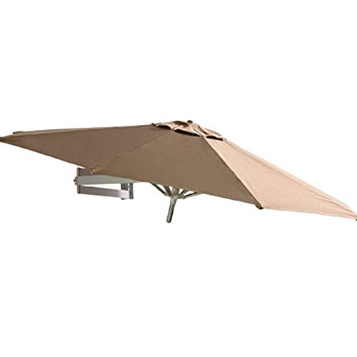 (Umbrellas Wall Mount Patio Parasol Outdoor Garden Balcony Tilting Sunshade, Aluminium, Ø 7ft / 220cm (Color : Khaki))