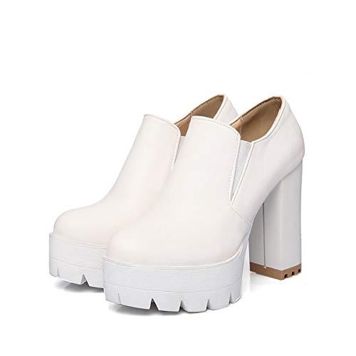 White US6.5-7   EU37   UK4.5-5   CN37 White US6.5-7   EU37   UK4.5-5   CN37 Women's Comfort shoes PU Fall Boots Chunky Heel Booties Ankle Boots White Black