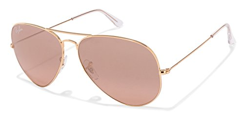 Ray-Ban RB3025 Aviator Large Metal Mirrored Unisex Sunglasses (Gold Frame/Crystal Brown Pink Silver Mirror Lens 001/3E, - Ray Frame Aviator Ban