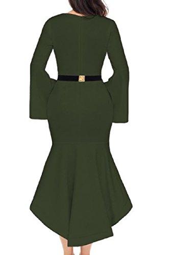 Confortables Manches Flare Col Rond Ourlet Irrégulier Des Femmes Bodycon Le Vert De L'armée Robe