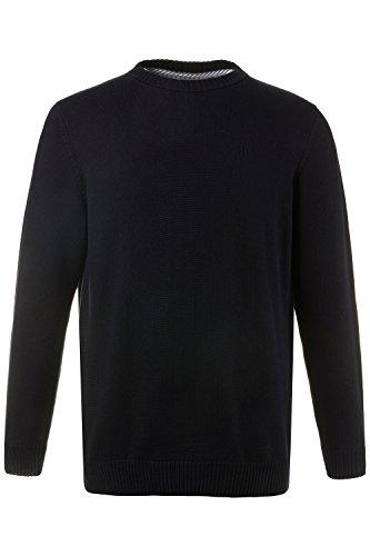 JP 1880 Herren große Größen bis 7XL   Pullover aus 100 % Baumwolle   Sweatshirt aus Strick   Rundhalsausschnitt, Langarm & Logo   Rippbündchen   Elastischer Bund   navy 4XL 708261 70-4XL