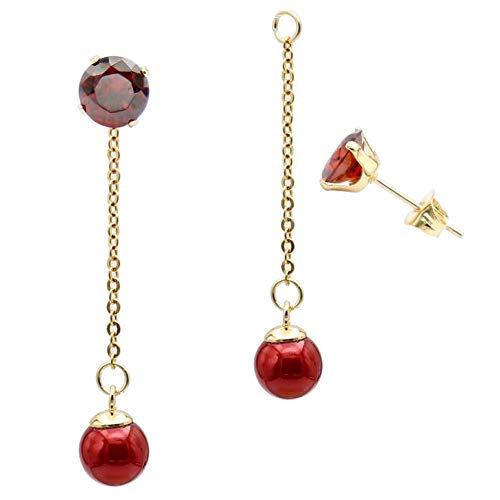 (Fashion Red Pearl Ball Drop Dangle Earrings with Chain for Women Girl Hypoallergenic Cubic Zirconia Stud Earring Jacket Enhancers)