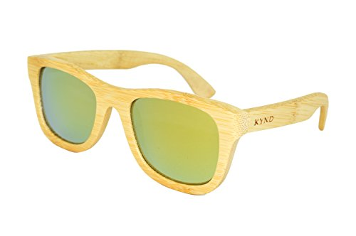 KYND Wooden Bamboo Polarized Sunglasses Wayfer Style For Men And Women - O.G.'s Natural Pure - Designer Look Alike Sunglasses