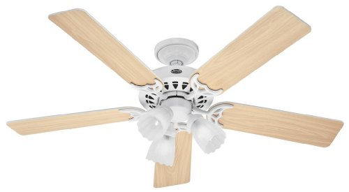 Hunter 26421 Architect Series Plus 52-Inch Ceiling Fan White With 5 Reversible Bleached Oak/White Blades