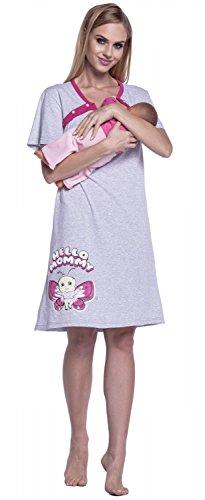 Happy Mama. Para Mujer Camisón Estampado Premamá de Embarazo y Lactancia. 872p Fucsia