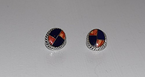 Inlaid with Lapis Post Earrings