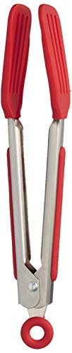 Tovolo Mini Turner Tongs, Flat Silicone Head, Easy-Lock Mechanism, 8.25 Inches, Candy Apple Red