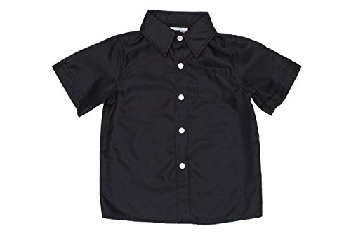 2-Cute Designs Little Boys-Short Sleeve Dress Shirt-4T-Black (Kids Black Dresses)