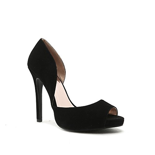 CUPID Womens Faux Suede Peep Toe Heel Sandals Black blsedQ