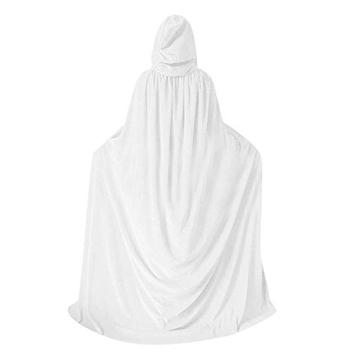 More Unique Men Hooded Velvet Cloak,Witch Costume Long Hooded Cape Fancy Robe Party Vampire Raven Wizard Cosplay Capes (White, 39.3