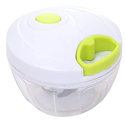 MIGECON Manual Food Chopper Hand-Powered Food Processor with 3 Blades for Vegetables/Fruits/Herbs/Salsa/Salad/Puree