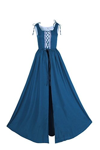 Lemail Womens Renaissance Irish Overdress Medieval Pirate Peasant Costume Coat Blue XL