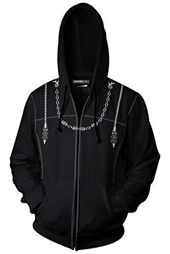 Kingdom Hearts Organization XIII Cosplay Costume Coat Xemnas Axel Roxas Hooded Sweatshirt Pullover Zip-up Jacket Coat Black ()