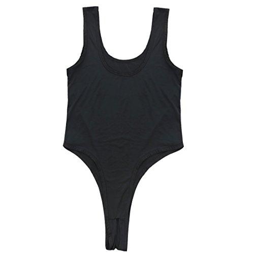 YIZYIF Bikini Ropa Interior Mujer Una Pieza Apretado Alta Elasticidad Sin Mangas Con Entrepierna Abierta Pijama Atractivo Negro