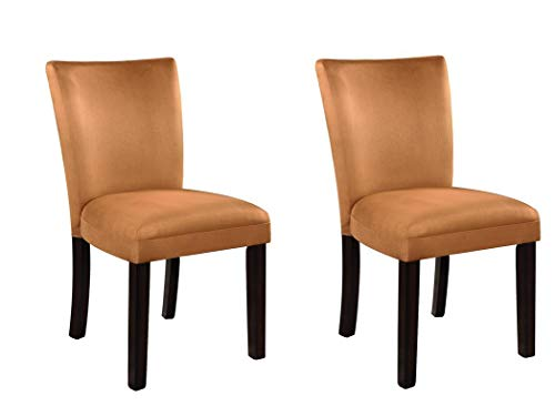 Bloomfield Microfiber Parson Side Chairs Cappuccino and Gold (Set of 2)