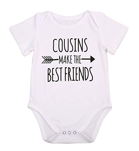 Newborn Baby Boys Girls Bodysuit I'm Going to Be A Big Cousin/Brother Bodysuit Romper/Tee Shirt (Cousins Make The Best Friends, 6-12M)
