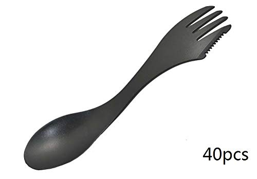 Spork Set of 40pcs, Plastic Spoon, Spork Multiple Use, Multiple Purpose Spork, Plastic Spoon Fork Knife 7-inch Long (Black) by Piedrunner