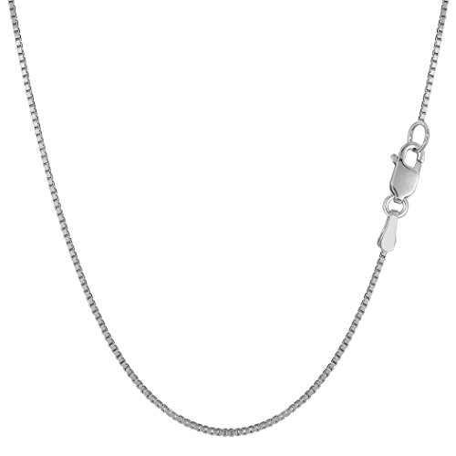 10k White Solid Gold Mirror Box Chain Necklace, 0.8mm, 20