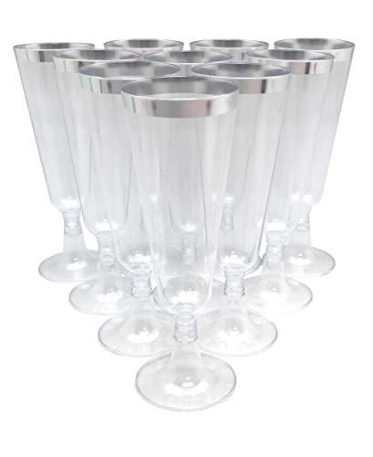 70pc Glitter Plastic Classicware Glass Like Champagne Wedding Parties Toasting Flutes Party Cocktail Cups (Silver Rimmed) ()