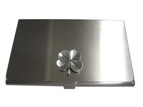 (Kiola Designs Silver Toned Textured Lucky Four Leaf Clover Business Card Holder)