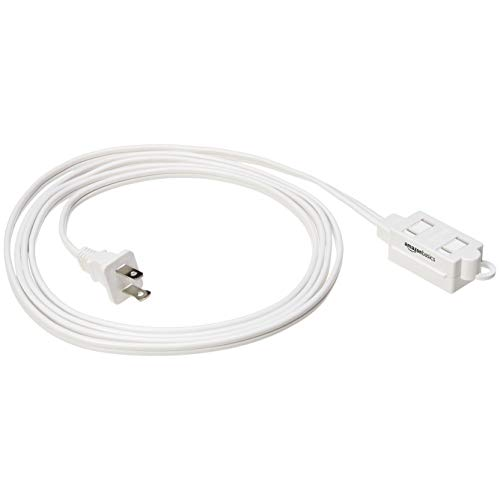 AmazonBasics Indoor 2 Prong Extension Power Cord Strip - Standard Plug, 8 Foot, Pack of 2, White