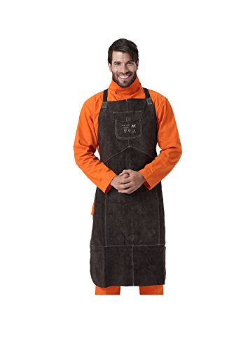 """AllyProtect Length 42"""" Heat/Flame Resistant Leather Welding Bib Apron with Pocket for Men/Women for Woodwork/Home Improvement/Heavy Duty Work £¨ Brown Color£"""