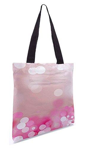 Snoogg Rosa Schloss Trübung 13.5 x 15 Zoll-Shopping-Dienstprogramm-Einkaufstasche aus Polyester-Segeltuch gemacht