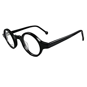 Circleperson Men Women Eyeglass frames Optical spring hinges small round (Black, Clear/ W print)