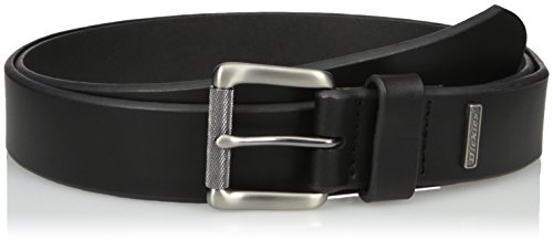Leather Logo Plaque - Dickies Men's 1 3/8 Inch Leather Belt with Metal Logo, Black, Medium