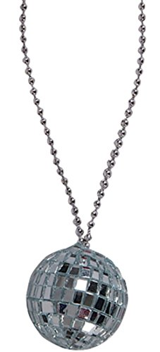 (Silver 70s Bling Disco Ball Chain Necklace Costume)