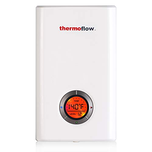 Thermoflow Elex 12 Tankless Water Heater Electric, 12kW at 240 Volts Instant Hot Water Heater with Self-Modulating Temperature Technology