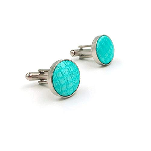 or Aqua Indigo Aquamarine Silk Mens Matching Cufflinks ()