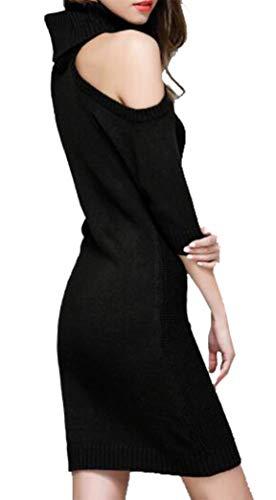 Lunghe Maglione Inverno Maglia con Nero Alto Vestito Collo Pullover Abito Autunno Maniche Donna Yeesea a 0qRwt