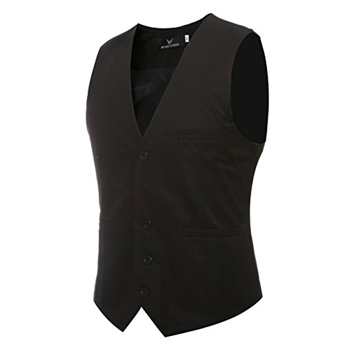 2016 New Men's V-neck Cotton 9 Colors Plus Size Wedding Dress Vests (4XL(China 6XL),black)