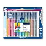 Staedtler 323SB20BK Triplus Markers, Water-based Ink, Fiber-tip, 20/Pack, Assorted