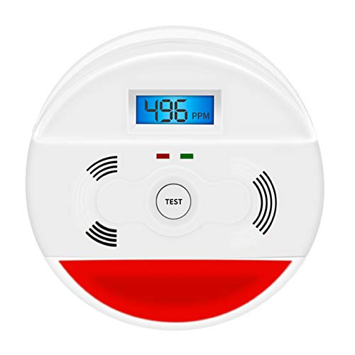 Combination Smoke and Carbon Monoxide Detector Battery Operated with Digital Display,Smoke Co alarm for Home Bedroom Travel Portable