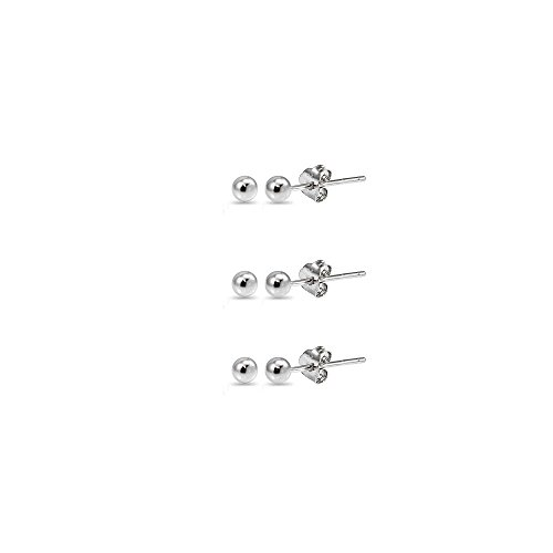 Sterling Silver 2mm Polished Ball Bead Stud Earrings Set of 3 Pairs