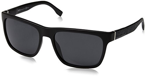 BOSS by Hugo Boss Men's B0918s Rectangular Sunglasses, Matte Black, 56 ()
