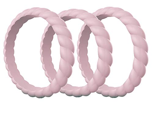 Made for Her Stackable Silicone Wedding Rings for Women - Thin Rubber Bands for Active Sports Female - Combo Colors Pack (3 Sand Pink, 8 (18.14mm))