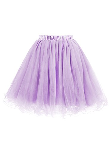 Emondora Women's Short 5 Layers Tutu Tulle Skirt Petticoat Prom Cocktail Dress Lavender Size S (Masked Ball Outfit)
