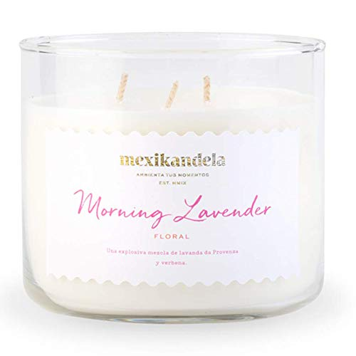 - Scented Candle, Morning Lavender Amazing Long Lasting Scent, 3 Wick, Home Decoration Candle, 14.8 Oz, 420gr