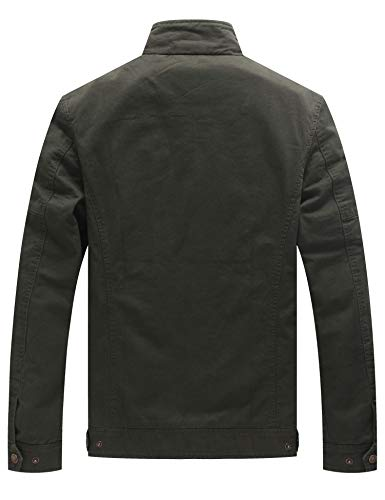 WenVen Men's Casual Washed Cotton Military Jacket 2