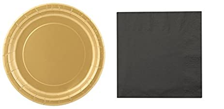 Black and Gold Paper Plates and Napkins Great for Graduation (Lunch Plate with Napkins  sc 1 st  Amazon.com & Amazon.com: Black and Gold Paper Plates and Napkins Great for ...