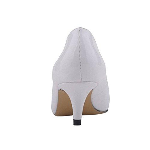 MERUMOTE - Tacón bajo mujer Blanco - White-Patent