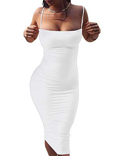 GOBLES Women's Sexy Spaghetti Strap Sleeveless Bodycon Midi Club Dress (M, White)