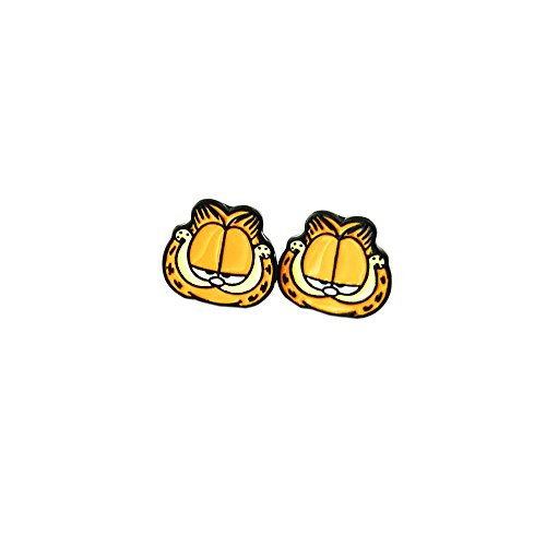 Garfield Head Logo Superhero Comics Cartoon Post Stud Earrings In Gift Box -