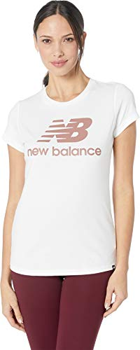New Balance Women's Essentials Logo Tee White Print Large