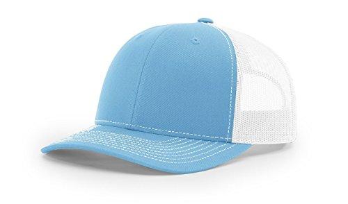 Richardson Colonial Blue/White112 Mesh Back Trucker Cap Snapback Hat Boys Plain Front Stain