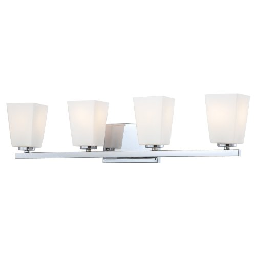 Court Four Light Bath - Minka Lavery Wall Light Fixtures 6544-77 City Square Reversible Glass Bath Vanity Lighting, 4 Light, 400 Watts, Chrome